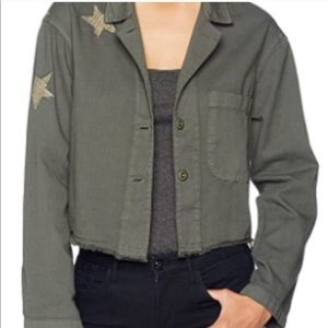 Monrow Jackets & Coats - Monrow Cropped Army Green Jacket w/ Stars